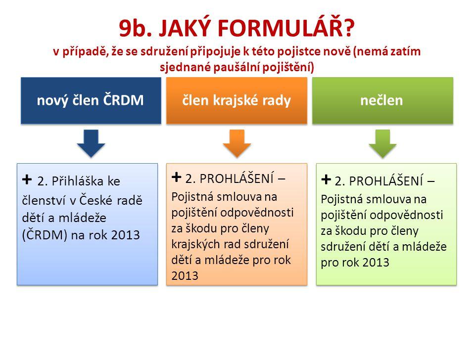 9b. JAKÝ FORMULÁŘ v případě, že se sdružení připojuje k této pojistce nově (nemá zatím sjednané paušální pojištění)