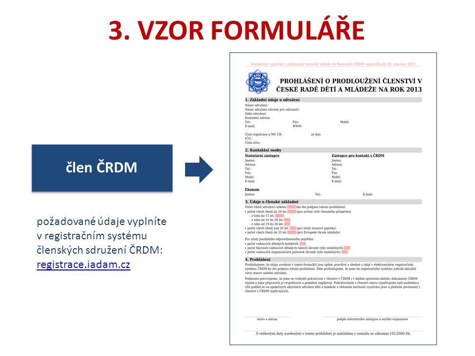 3. VZOR FORMULÁŘE člen ČRDM požadované údaje vyplníte