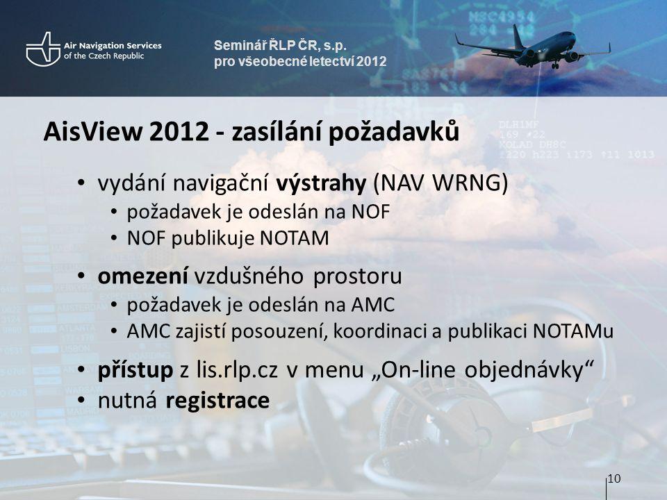 AisView 2012 - zasílání požadavků