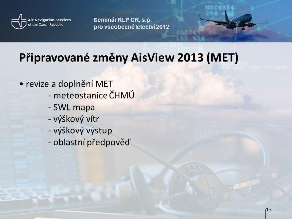 Připravované změny AisView 2013 (MET)