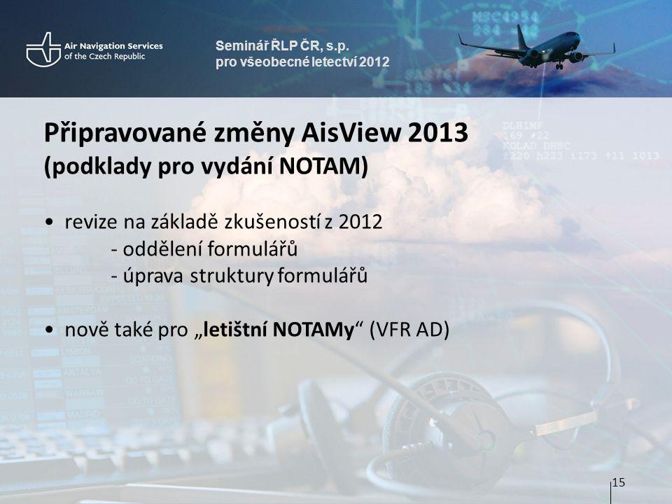 Připravované změny AisView 2013 (podklady pro vydání NOTAM)