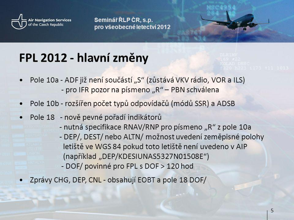 Seminář ŘLP ČR, s.p. pro všeobecné letectví 2012. FPL 2012 - hlavní změny.