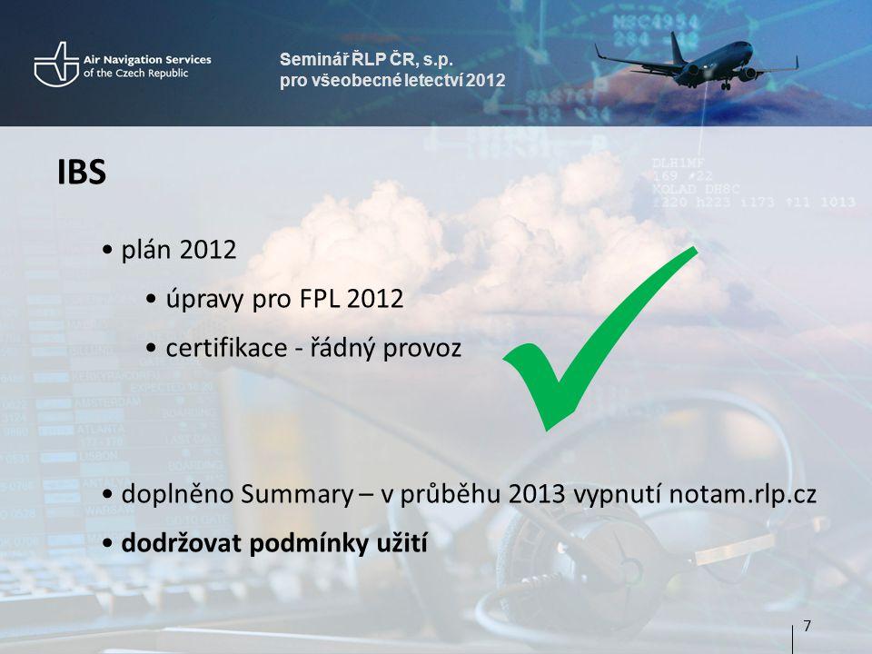  IBS plán 2012 úpravy pro FPL 2012 certifikace - řádný provoz