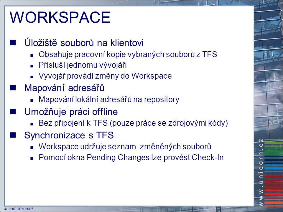 WORKSPACE Úložiště souborů na klientovi Mapování adresářů