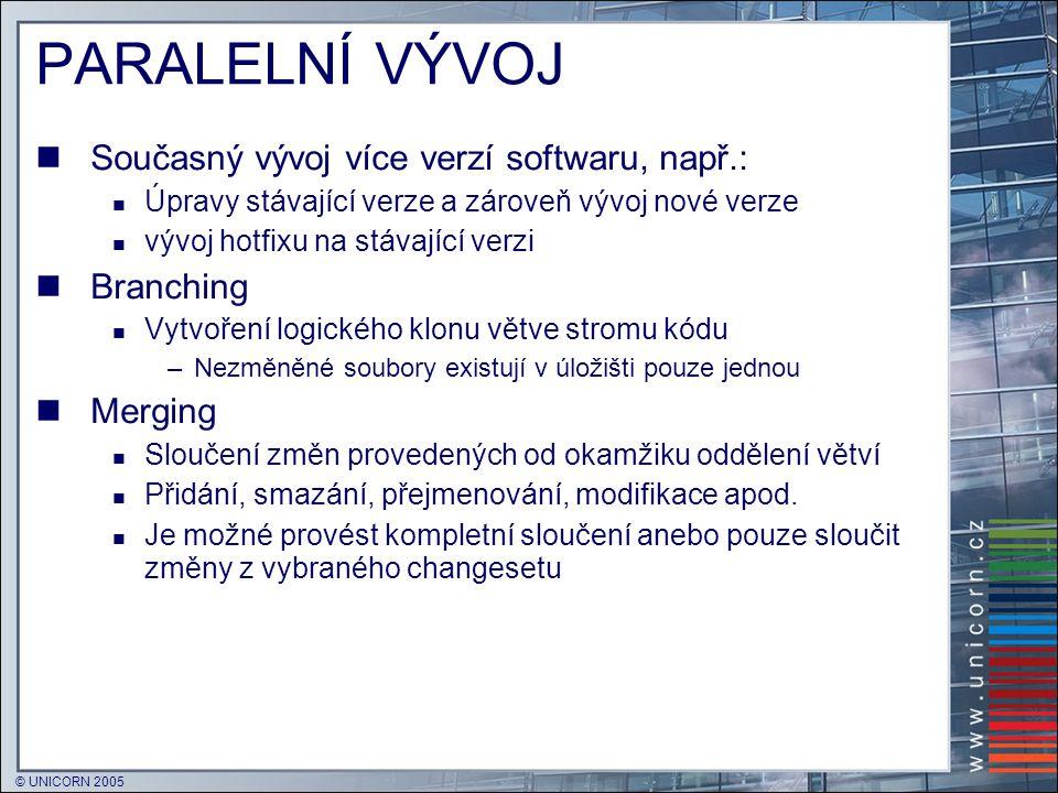 PARALELNÍ VÝVOJ Současný vývoj více verzí softwaru, např.: Branching