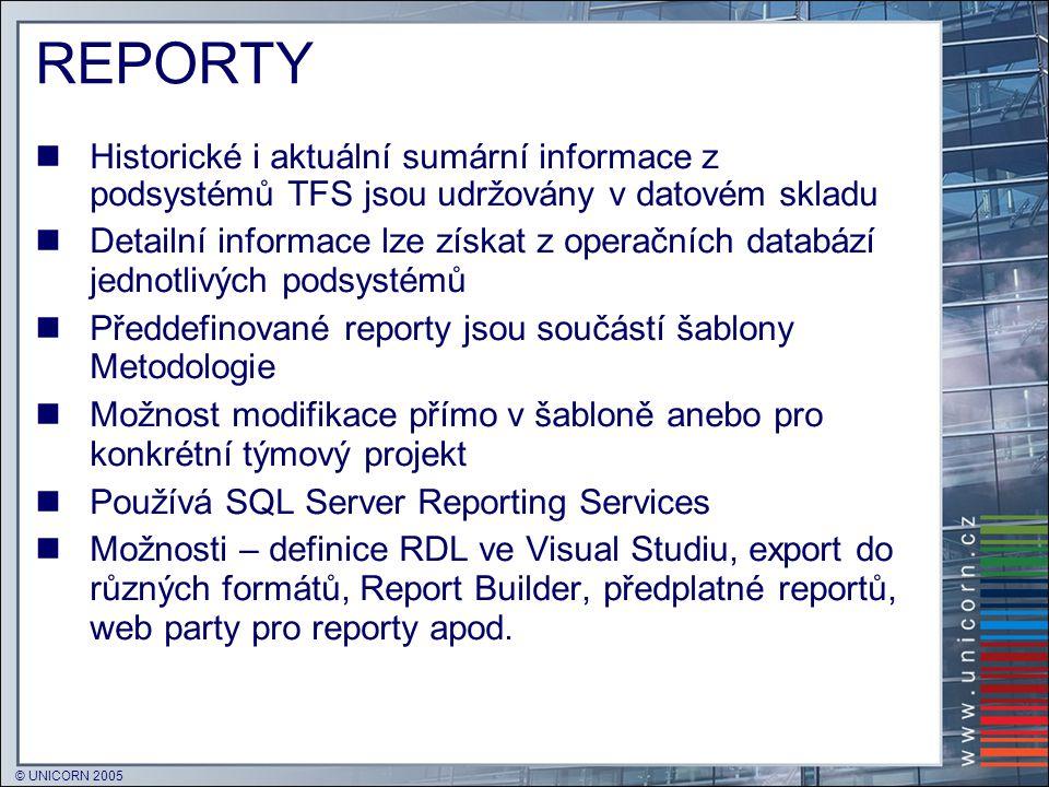REPORTY Historické i aktuální sumární informace z podsystémů TFS jsou udržovány v datovém skladu.