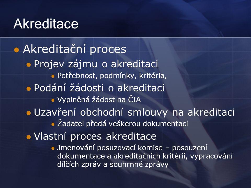 Akreditace Akreditační proces Projev zájmu o akreditaci