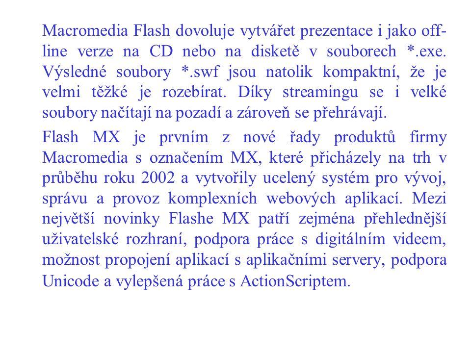 Macromedia Flash dovoluje vytvářet prezentace i jako off-line verze na CD nebo na disketě v souborech *.exe. Výsledné soubory *.swf jsou natolik kompaktní, že je velmi těžké je rozebírat. Díky streamingu se i velké soubory načítají na pozadí a zároveň se přehrávají.