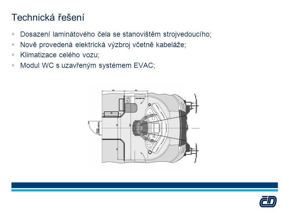 Technická řešení Dosazení laminátového čela se stanovištěm strojvedoucího; Nově provedená elektrická výzbroj včetně kabeláže;