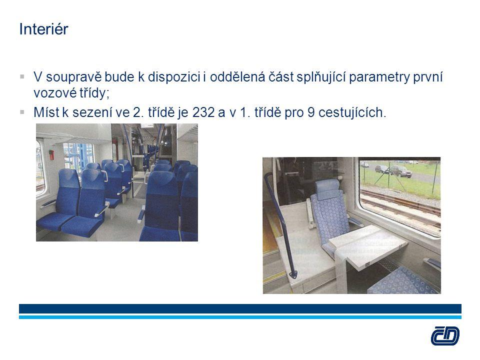 Interiér V soupravě bude k dispozici i oddělená část splňující parametry první vozové třídy;