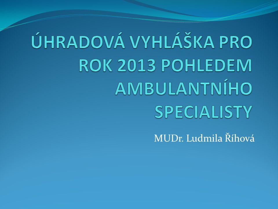 ÚHRADOVÁ VYHLÁŠKA PRO ROK 2013 POHLEDEM AMBULANTNÍHO SPECIALISTY