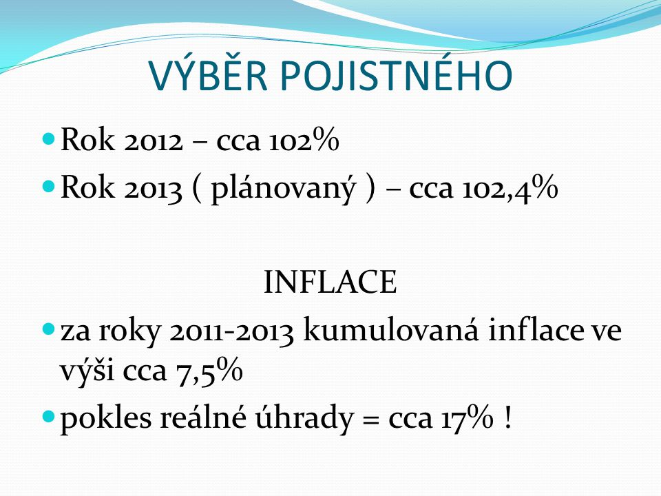 VÝBĚR POJISTNÉHO Rok 2012 – cca 102%