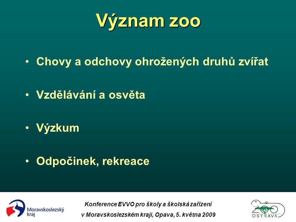 Význam zoo Chovy a odchovy ohrožených druhů zvířat Vzdělávání a osvěta