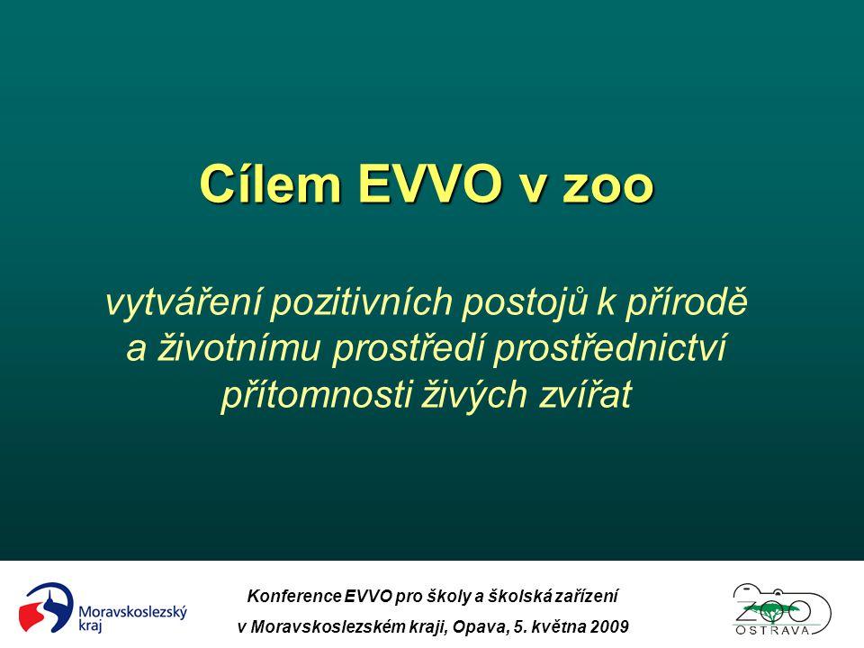 Cílem EVVO v zoo vytváření pozitivních postojů k přírodě a životnímu prostředí prostřednictví přítomnosti živých zvířat