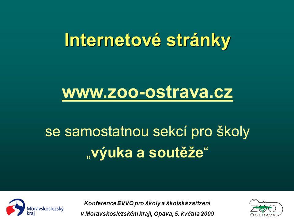 Internetové stránky www.zoo-ostrava.cz