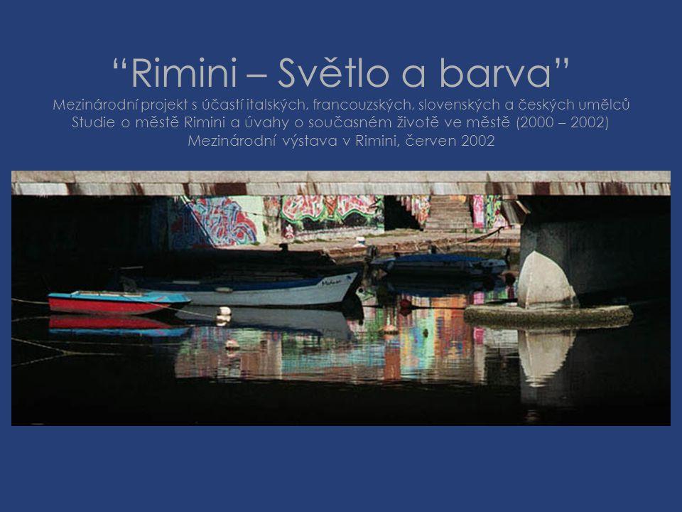Rimini – Světlo a barva Mezinárodní projekt s účastí italských, francouzských, slovenských a českých umělců Studie o městě Rimini a úvahy o současném životě ve městě (2000 – 2002) Mezinárodní výstava v Rimini, červen 2002