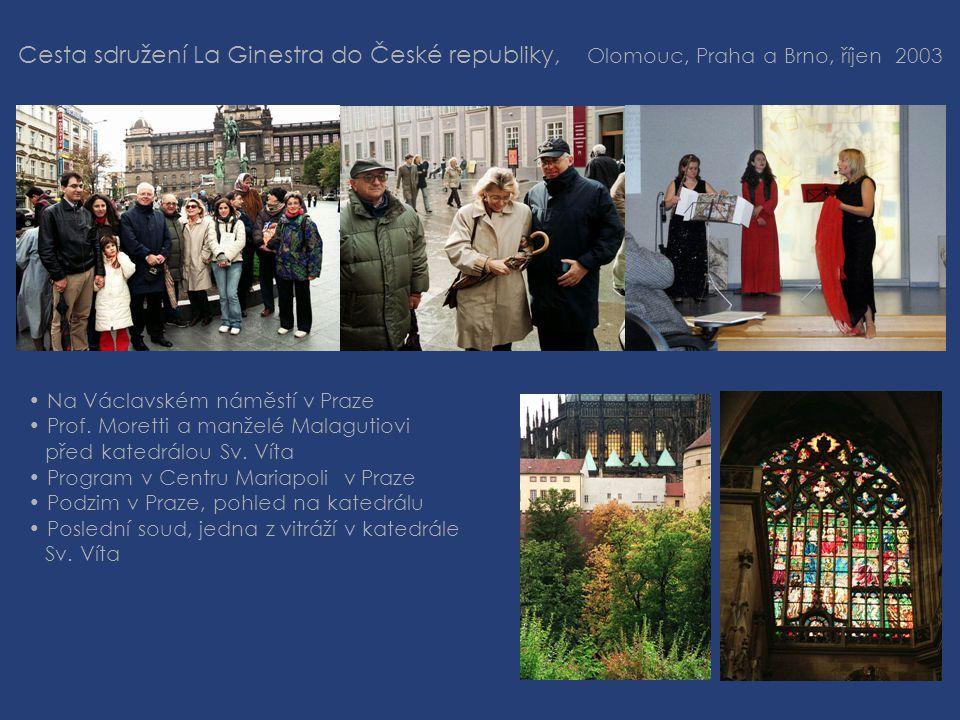 Cesta sdružení La Ginestra do České republiky, Olomouc, Praha a Brno, říjen 2003