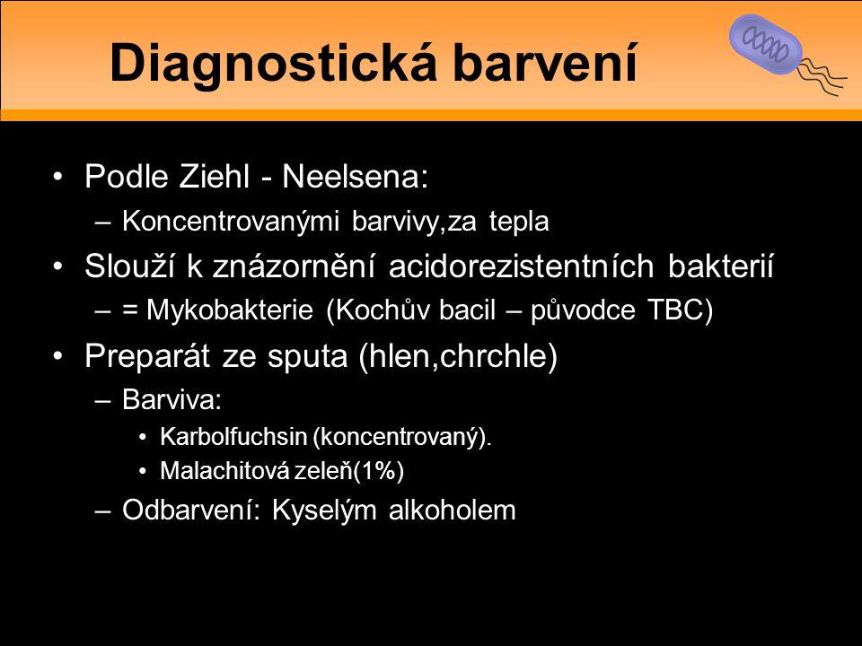 Diagnostická barvení Podle Ziehl - Neelsena: