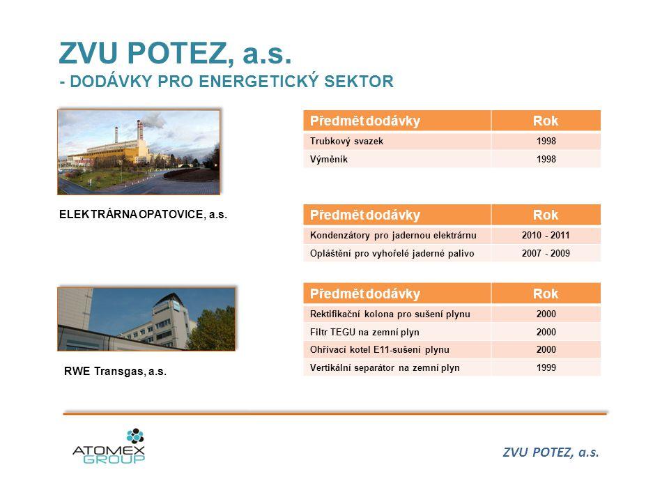 ZVU POTEZ, a.s. - DODÁVKY PRO ENERGETICKÝ SEKTOR