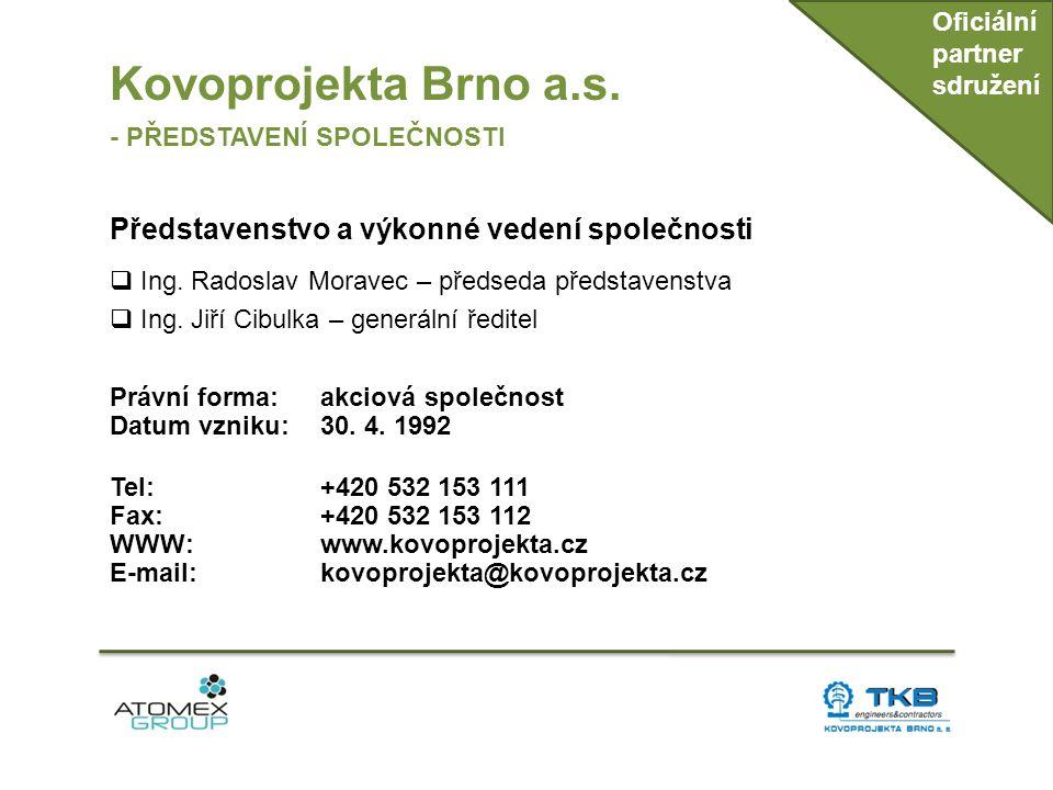 Kovoprojekta Brno a.s. Představenstvo a výkonné vedení společnosti