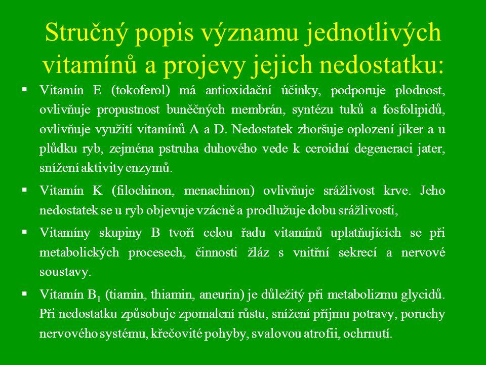 Stručný popis významu jednotlivých vitamínů a projevy jejich nedostatku: