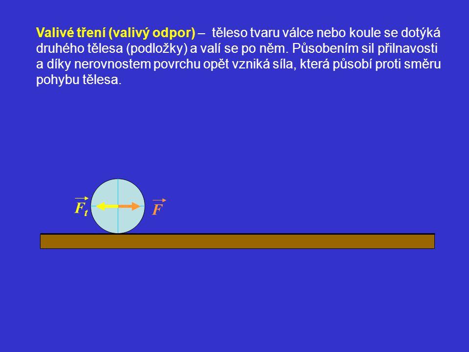 Valivé tření (valivý odpor) – těleso tvaru válce nebo koule se dotýká druhého tělesa (podložky) a valí se po něm. Působením sil přilnavosti a díky nerovnostem povrchu opět vzniká síla, která působí proti směru pohybu tělesa.