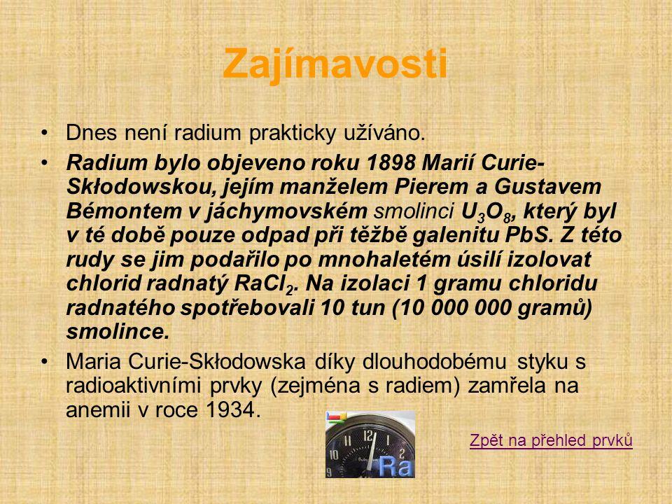 Zajímavosti Dnes není radium prakticky užíváno.