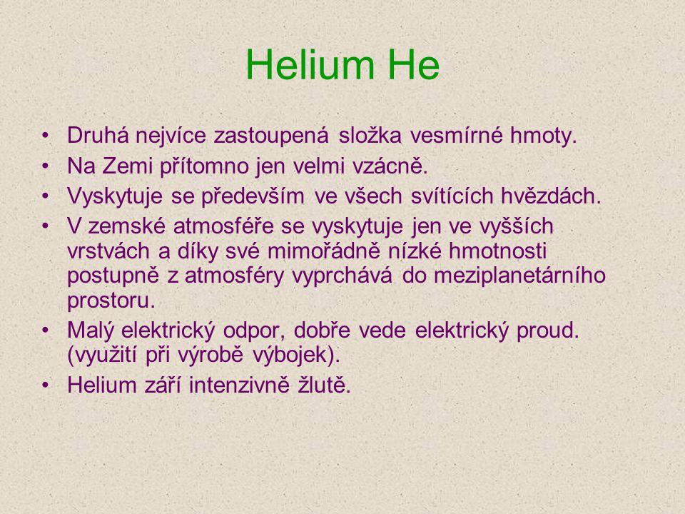 Helium He Druhá nejvíce zastoupená složka vesmírné hmoty.