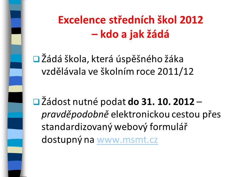 Excelence středních škol 2012 – kdo a jak žádá