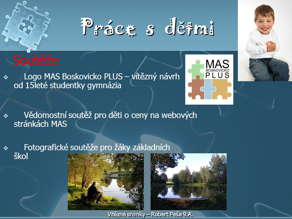 Práce s dětmi Soutěže. Logo MAS Boskovicko PLUS – vítězný návrh od 15leté studentky gymnázia.
