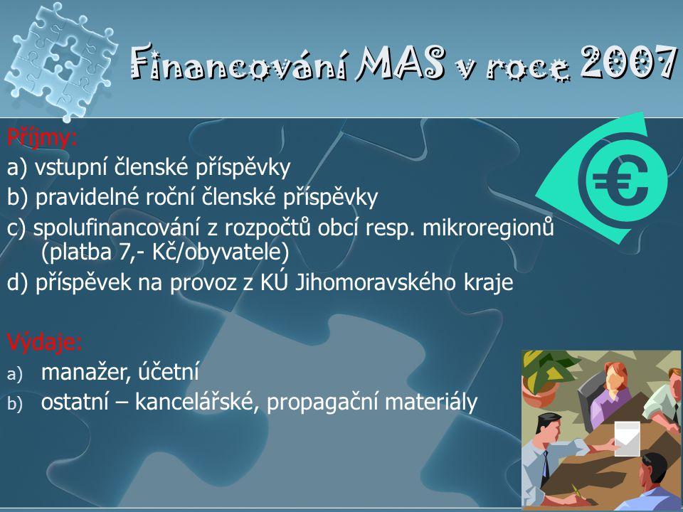 Financování MAS v roce 2007 Příjmy: a) vstupní členské příspěvky