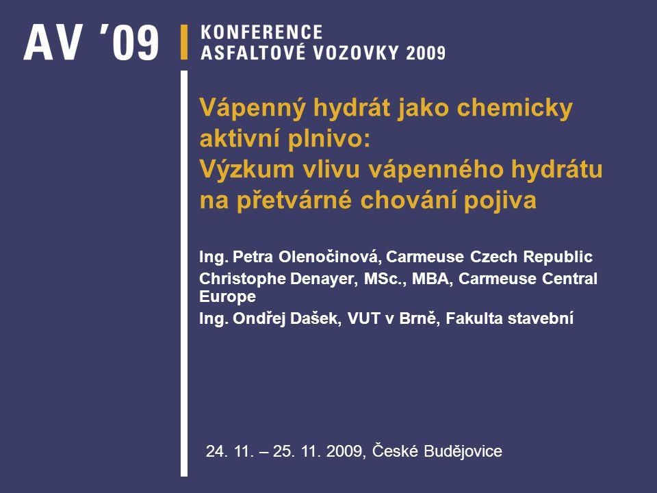 Vápenný hydrát jako chemicky aktivní plnivo: Výzkum vlivu vápenného hydrátu na přetvárné chování pojiva