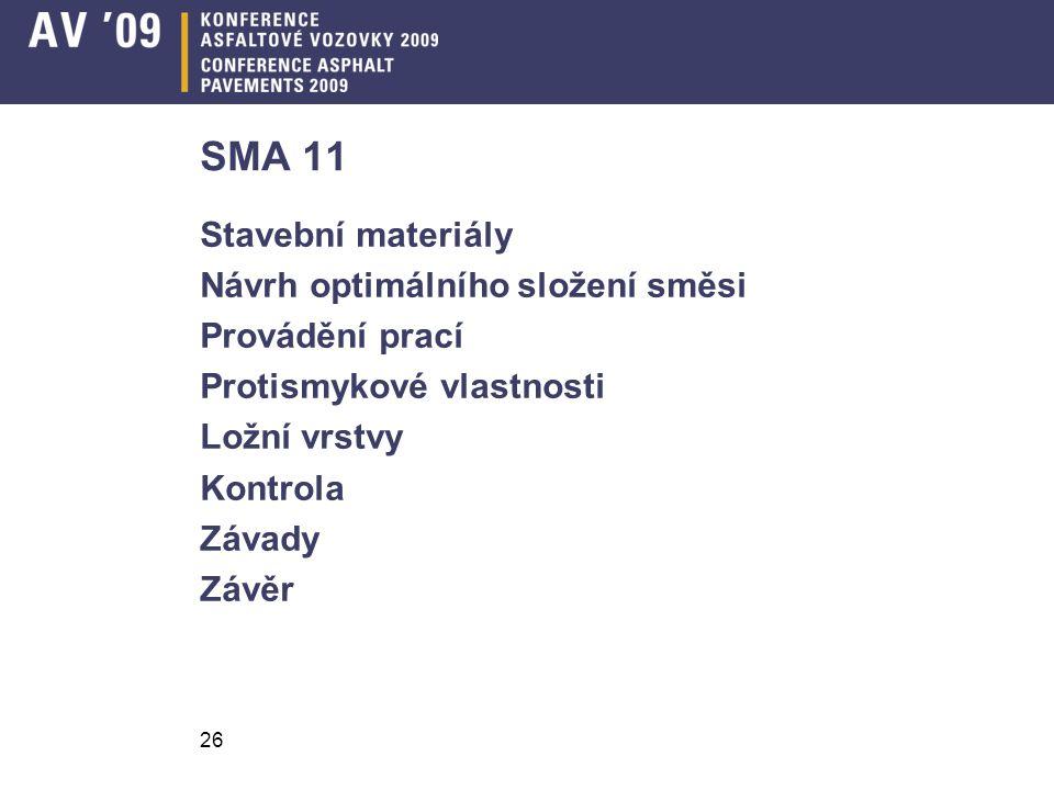 SMA 11 Stavební materiály Návrh optimálního složení směsi