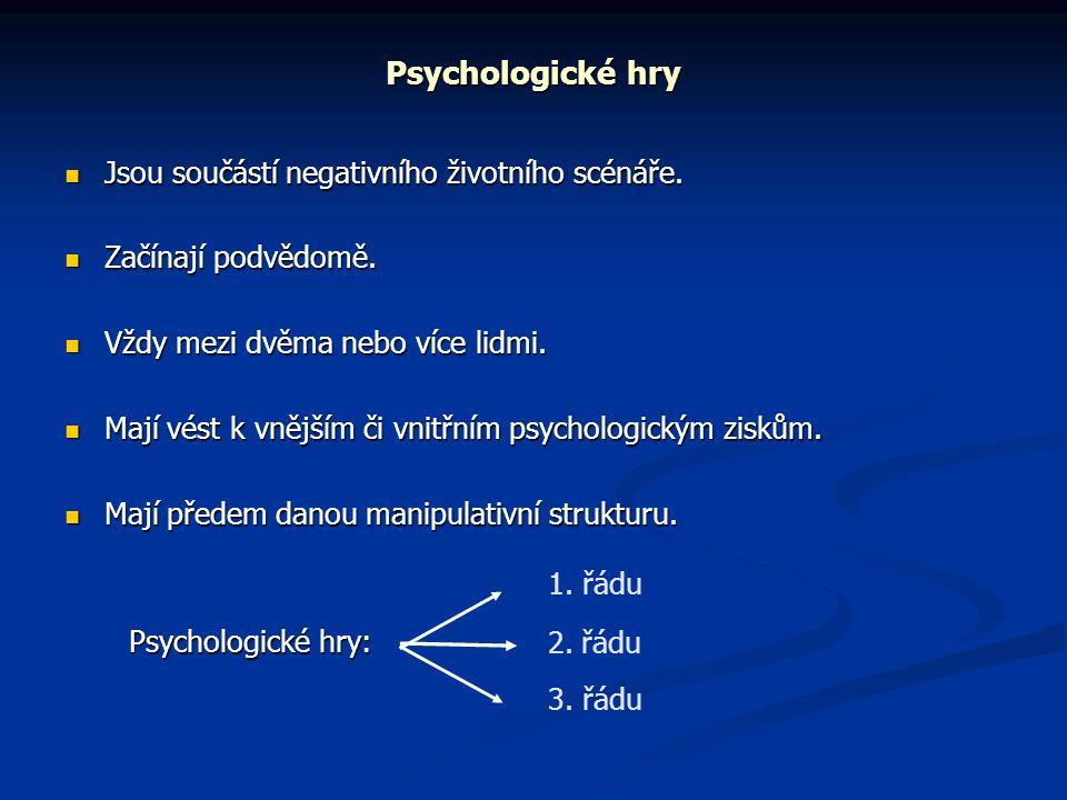 Psychologické hry Jsou součástí negativního životního scénáře.