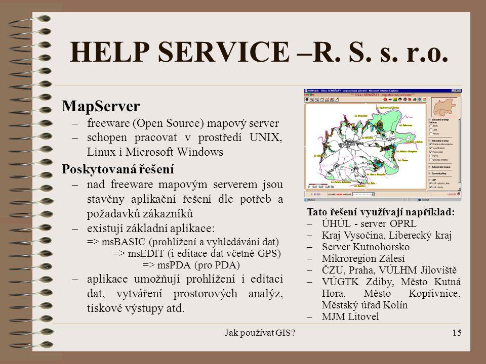 HELP SERVICE –R. S. s. r.o. MapServer Poskytovaná řešení
