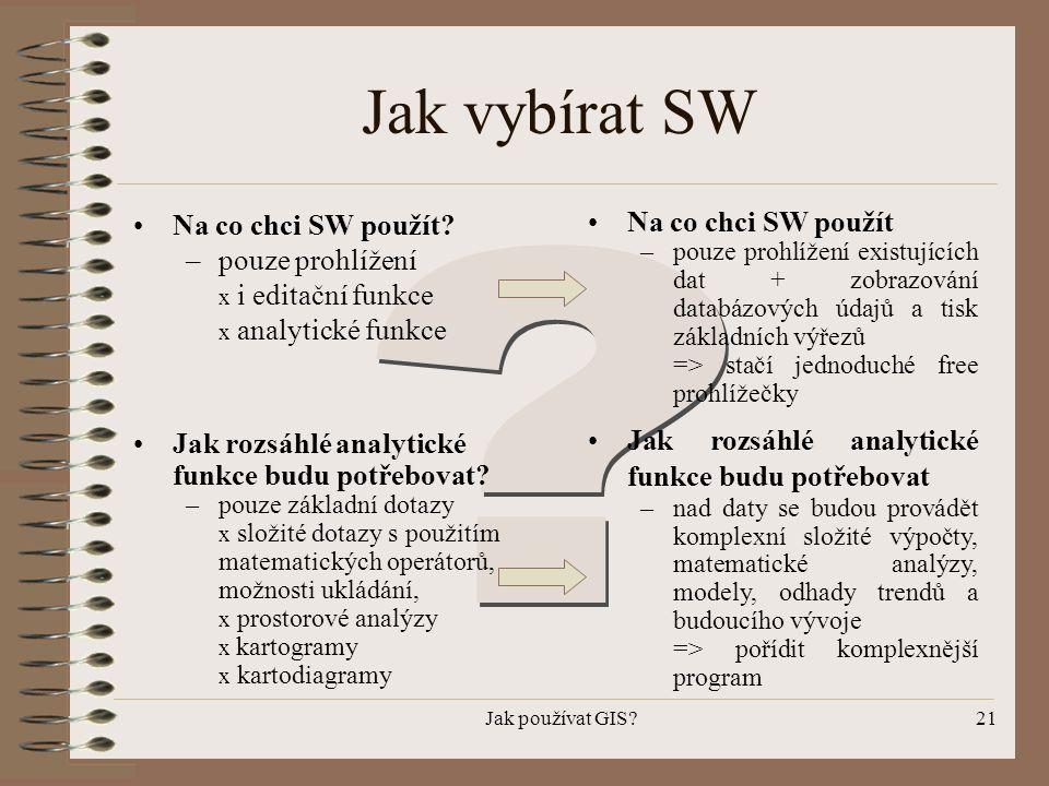 Jak vybírat SW Na co chci SW použít