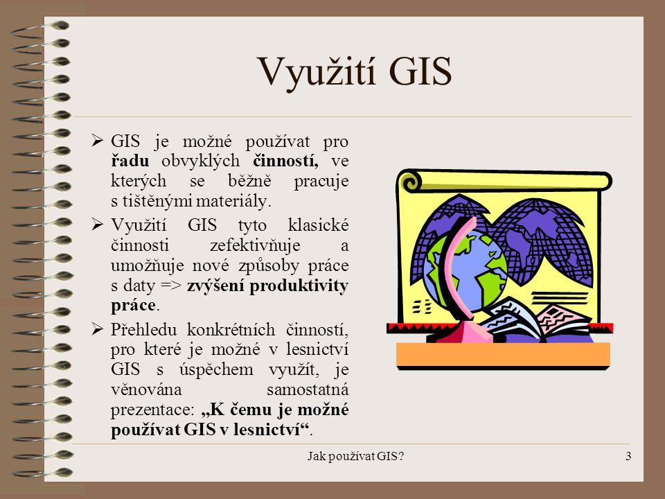 Využití GIS GIS je možné používat pro řadu obvyklých činností, ve kterých se běžně pracuje s tištěnými materiály.