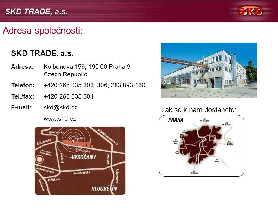 Adresa společnosti: SKD TRADE, a.s.