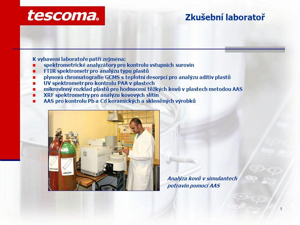 Zkušební laboratoř K vybavení laboratoře patří zejména: