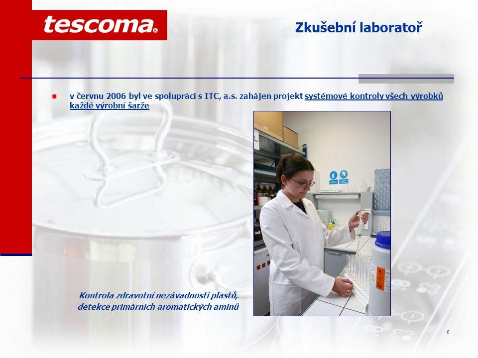 Zkušební laboratoř v červnu 2006 byl ve spolupráci s ITC, a.s. zahájen projekt systémové kontroly všech výrobků každé výrobní šarže.