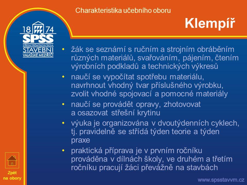 Charakteristika učebního oboru Klempíř