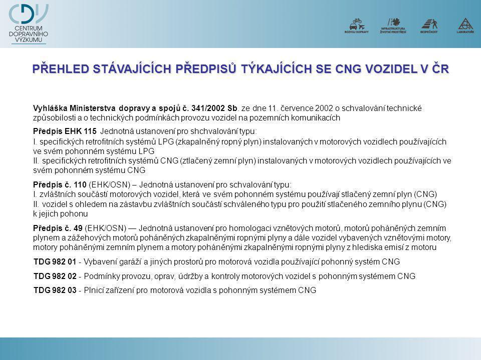 PŘEHLED STÁVAJÍCÍCH PŘEDPISŮ TÝKAJÍCÍCH SE CNG VOZIDEL V ČR