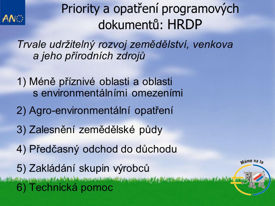 Priority a opatření programových dokumentů: HRDP