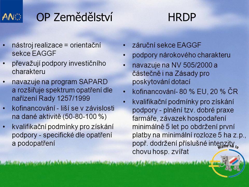 OP Zemědělství HRDP nástroj realizace = orientační sekce EAGGF