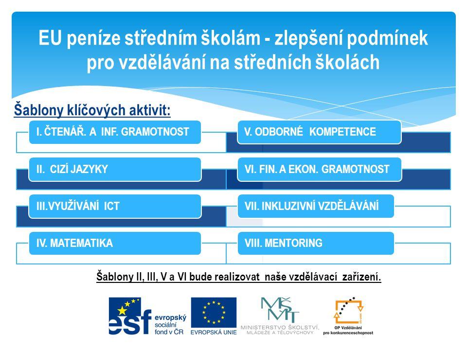 Šablony II, III, V a VI bude realizovat naše vzdělávací zařízení.