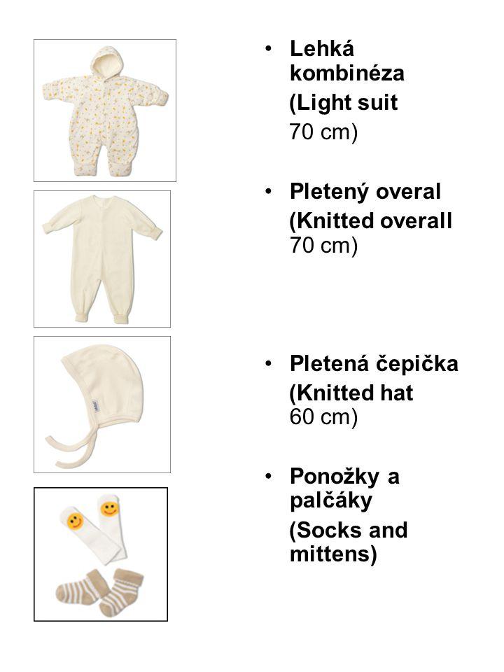 Lehká kombinéza (Light suit. 70 cm) Pletený overal. (Knitted overall 70 cm) Pletená čepička. (Knitted hat 60 cm)