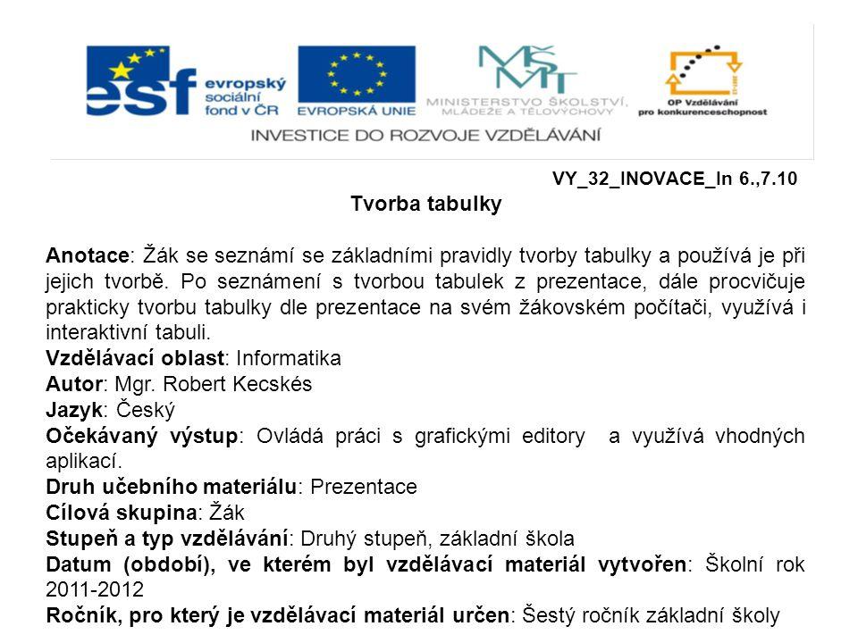 Vzdělávací oblast: Informatika Autor: Mgr. Robert Kecskés Jazyk: Český
