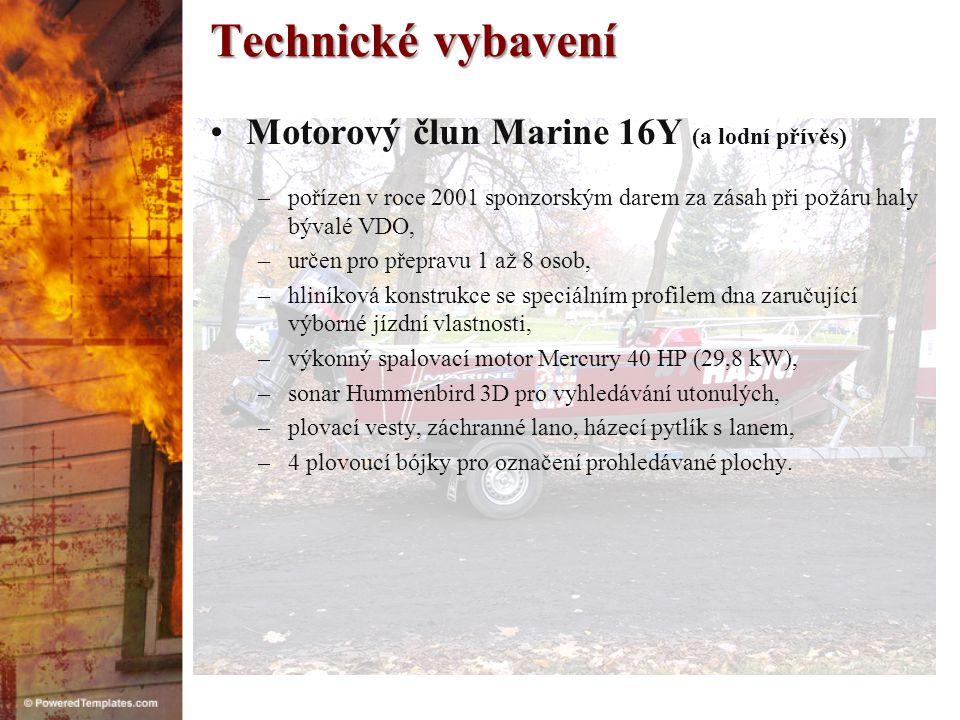 Technické vybavení Motorový člun Marine 16Y (a lodní přívěs)