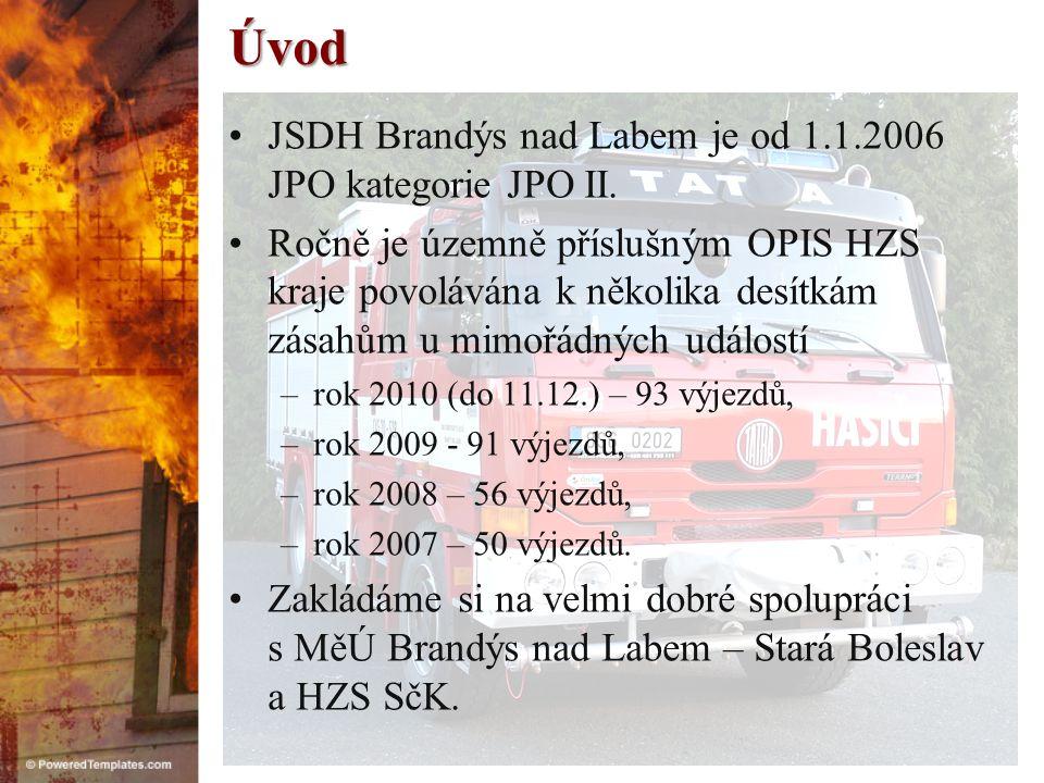 Úvod JSDH Brandýs nad Labem je od 1.1.2006 JPO kategorie JPO II.