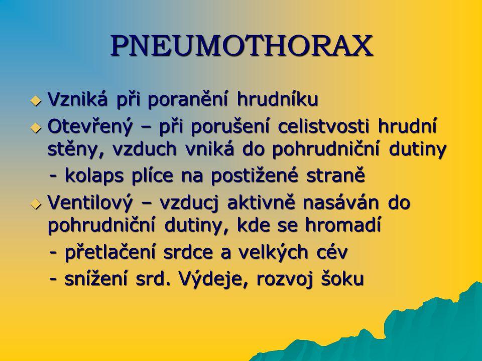 PNEUMOTHORAX Vzniká při poranění hrudníku